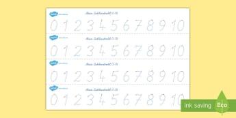 Zahlenstrahl 1 10 Arbeitsblatt Erstes Schreiben: Zahlen nachspuren - Zahlenstrahl, Zahlen, Zahlenstrahl 0-10, Zahlenstrahl zum nachspuren, Zahlen nachspuren, Schreiben l