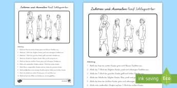 Zuhören und Ausmalen Fünf Schlagwörter Arbeitsblatt - Leseverstehen, Hörverstehen, Verständnis, Lesen, Hören, logisches Denken, ,German