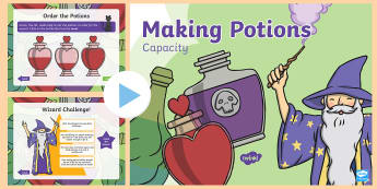 EYFS Potions Capacity PowerPoint - EYFS, Liquids, Measure, Year 1, Maths, full, empty, contain,