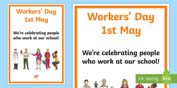 South Africa Workers' Day 1st May Display Poster - South Africa Worker's Day 1st May, workers at school, display, poster