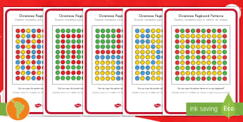 Christmas Pegboard Pattern Cards US English/Spanish (Latin) - Puzzle, Activity, Activities, patterms, chrristmas, chrisatmas, chrisdtmas, spanish, eal
