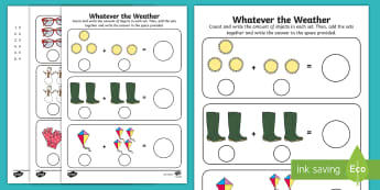 Whatever the Weather Addition Activity Sheets - exploring my world, sun, rain, wind, snow, seasons, clothes, aistear, numeracy, Irish