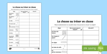 Feuille d'activités : Chasse au trésor en classe  - Repérer, objets, chasse au trésor, nouvelle classe, matériel,French