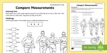 Comparing Measurements Activity Sheet - KS1, amazing fact august, measures, maths, length, worksheet