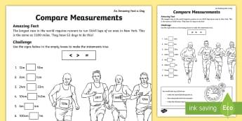 Comparing Measurements Activity Sheet - KS1, amazing fact august, measures, maths, length, worksheet