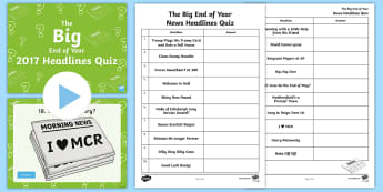 UKS2 The Big End of Year Headlines 2017 Quiz Pack - news, stories, game, celebrities, sport