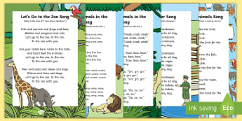 Zoo Songs and Rhymes Resource Pack - safari park, animals, singing, songtime, zookeeper, zoo keeper