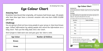 Eye Colour Chart Activity Sheet - Amazing Fact Of The Day, activity sheets, powerpoint, starter, morning activity, February, tally cha