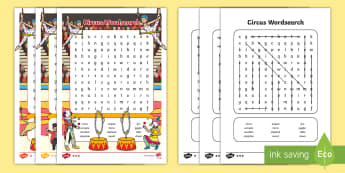 Circus Differentiated Wordsearch - word search, word games, words