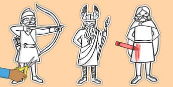 Viking Men Colouring Cut Outs - viking, men, cut outs, display