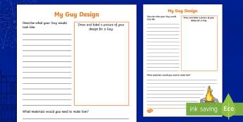 My Guy Design Activity Sheet - The Gunpowder Plot, History, Guy Fawkes, Guy, Bonfire Night, worksheet