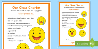 Editable Class Charter Emoji Themed Display Poster - Classroom, KS2, Management, Behaviour, Sign, rules, responsibilities,