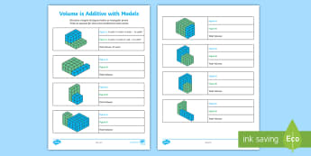 Volume is Additive with Models Activity Sheet - Volume, cube, cubic, rectangular prism, height, width, length