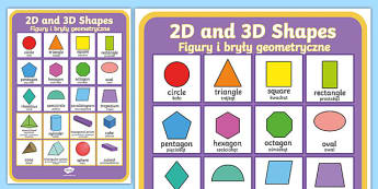 2D and 3D Shapes Poster English/Polish - 2D and 3D Shapes Poster - 2d shapes, 3d shapes, poster, display,shpes,2d shaes, 2Dshape, 3d shaoes,