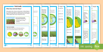 Fairtrade Differentiated Fact File English/Mandarin Chinese - KS1 Comprehensions, fairtrade, fair trade, equal trade, international, farmers, cocoa, bananas, tea,