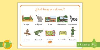 ¿Qué hay en el zoo? - fauna, zoologico, medio ambiente, habitat, especies, escritura, colegio, materiales, profesores,Iris