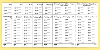 Multiplying and Dividing by 0,1 and 10 Activity Sheet Pack - multiplying, dividing, pack, worksheet