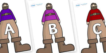 A-Z Alphabet on Giants - A-Z, A4, display, Alphabet frieze, Display letters, Letter posters, A-Z letters, Alphabet flashcards