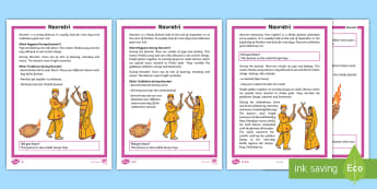 KS1 Navratri  Differentiated Fact File - Durga Puja, Hinduism, Hindus, Festivals, Celebrations.