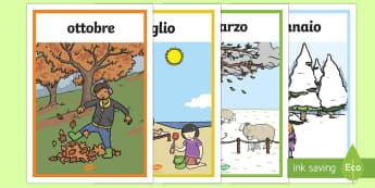 Mesi dell'Anno e Stagioni Poster - mesi, dell, anno, tempo, meteo, meteorologico, mesi, mensile, italiano, italian