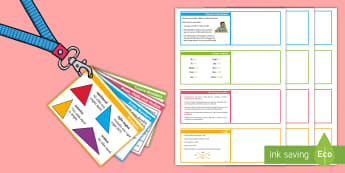 UKS2 Maths Hint Revision Lanyard-Sized Cards - SATs, practice, practise, reasoning, calculations