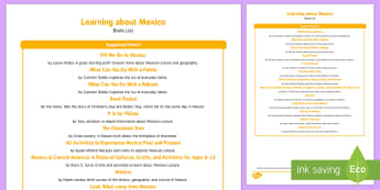 Learning about Mexico Book List - Cinco de Mayo, mexico, mayan, Spanish, Mexican heritage, Mexican culture, Mexican crafts