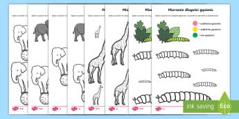 Karty Kolorowanie według rozmiaru - mierzenie, miara, pomiar, waga, ciężar, zmierz, mierzyć, długość, wysokość, centymetry, metr