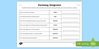Germany Facts Anagrams Puzzle - German  - Germany, German, MFL, Languages, Europe, KS3 German, German Culture, Deutschland