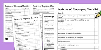 Features of a Biography Writing Checklist - features, biography, writing, checklist