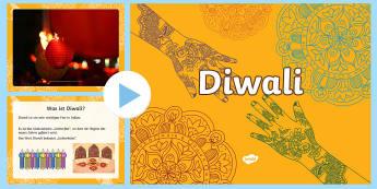 Diwali PowerPoint Präsentation - Divali, Hinduismus, Hindus, Lichterfest, Religion,,German