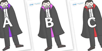 A-Z Alphabet on Vampires - A-Z, A4, display, Alphabet frieze, Display letters, Letter posters, A-Z letters, Alphabet flashcards