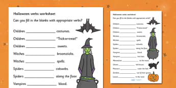 Halloween Verbs Activity Sheets- Halloween Verbs Worksheets, verbs, verb, worksheet, sheets, Halloween, pumpkin, witch, bat, scary, black cat, mummy, grave stone, cauldron, broomstick, haunted house, potion, Hallowe'en
