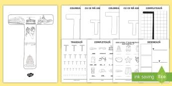 Consolidarea literei T Broșură  - alfabetul, alfabetar, litere, sunete, grafisme,Romanian