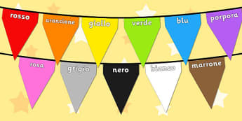 Colours on Bunting Italian - colour, display, keywords, italy, italian, languages, translated