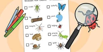 Minibeasts Investigation Lab Checklist of Minibeasts - science