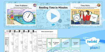PlanIt Y3 Measurement Lesson Pack Estimate and Read Time - Time, minutes, clock, word problems, reasoning, estimate and read time in minutes, measure, measurem