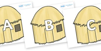 A-Z Alphabet on Straw houses - A-Z, A4, display, Alphabet frieze, Display letters, Letter posters, A-Z letters, Alphabet flashcards
