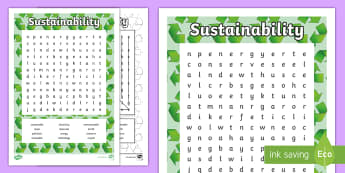 Sustainability Word Search - Australia YR 3 and 4 Design Technology, sustainability, recycling, reduce, reuse, recycle, electrici