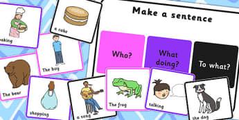 SVO Make a Sentence Board and Cards - svo, make sentence, make a sentence, make