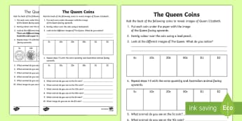 The Queen Coins Activity Sheet - The queen's birthday, maths, Mathematics, Year 1, worksheet, Number and Algebra, Money and financia