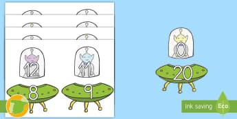 Palabras temáticas en imagen: Sumas hasta 20 - Extraterrestres - números, sumar, sumas, hats 20, veinte, parejas, extraterrestres, alienígenas, espacio, ,Spanish