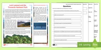 Loch Lomond and The Trossachs Differentiated Comprehension Go Respond s - CfE Literacy, reading comprehension strategies, physical features, landscape, Scotland, Scottish, mo