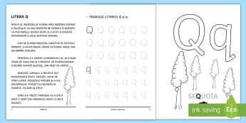 Învățăm litera Q Broșură cu activități - litere, litera Q, alfabet, clasa pregătitoare, borșură cu activități,Romanian