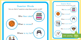 Question Words Large Display Poster - question words, display poster, who, what , when, where, why