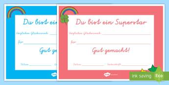 Superstar Zertifikate - Urkunden, Erfolge, Belohnung, Geschenk, Diplom, Schuljahresende,,German