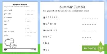 Summer Jumble Activity Sheet - NI, Summer, hot, sun, ice cream, June, July, August