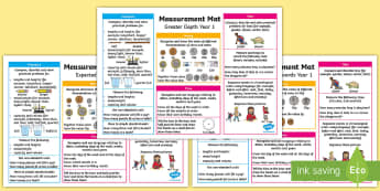 Year 1 Measurement Differentiated Maths Mats - KS1 Maths, Year 1, Y1, measurement, expectations, greater depth, working towards, expected level, no