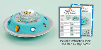 Paper Plate Flying Saucer Craft Instructions - space, spaceships