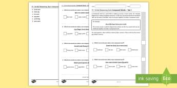 11 + verbal reasoning practice paper: Compound Words Test 1 Assessment Pack - 11+ Practice Resources, 11 plus, 11 +, grammar school, grammar school tests