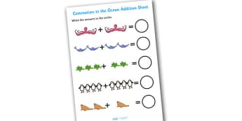 Addition Sheet to Support Teaching on Commotion In The Ocean - commotion in the ocean, addition sheet, addition, commotion in the ocean addition sheet, worksheet